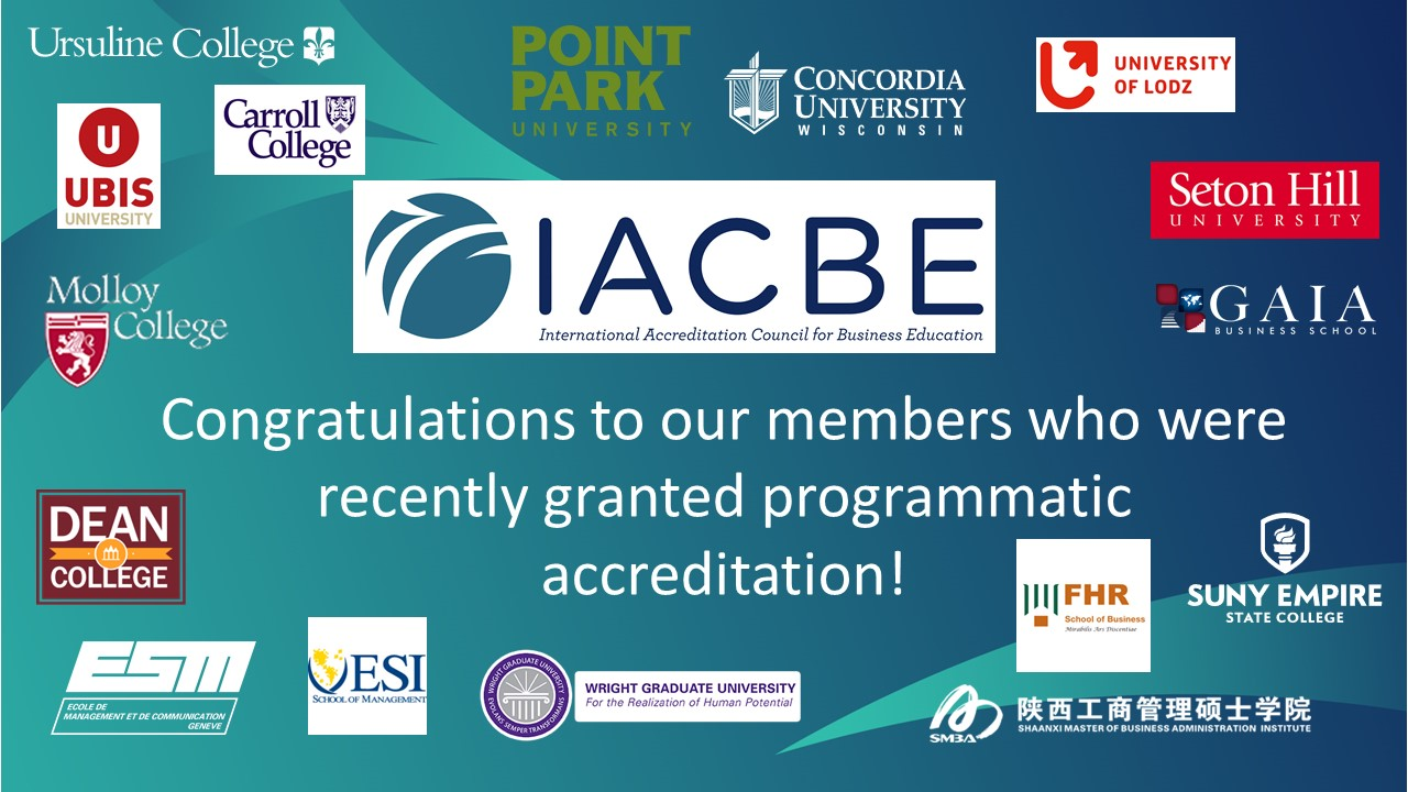 Recent Accreditations Granted to IACBE Members